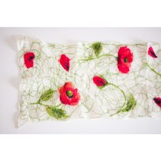 Felted scarf, felted wrap, poppy, white, red, green, wool shawl,... (3 165 UAH) ❤ liked on Polyvore featuring accessories and scarves