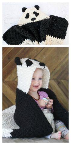 Crochet Panda Hooded Baby Afghan Blanket Free Pattern