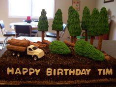 Logging Cake on Cake Central Truck Birthday Cakes, Truck Cakes, 50th Birthday, Birthday Parties, Rustic Birthday, Family Cake, Second Birthday Ideas, Retirement Cakes, Log Cake