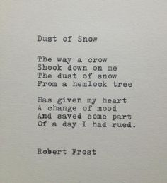 Robert Frost Snow Poem Typed on Typewriter
