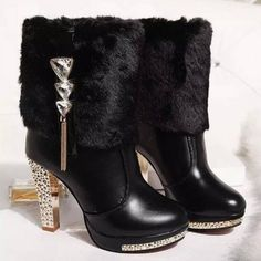 Buy Womens Boots Winter Warm Platform Ankle Boots Shoe Buckle Womens High Heels Fashion Shoes Black White at Wish - Shopping Made Fun Chunky High Heels, Leather High Heels, High Heels Stilettos, Platform Ankle Boots, High Heel Boots, Heeled Boots, Fur Boots, Shoe Boots, Boots Talon