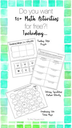 Free low prep math activities- just print and go. Topics include: Solving equations, ratio word problems, fraction operations, combining like terms, slope and exponents Operations With Fractions, Order Of Operations, Math Resources, Math Activities, Combining Like Terms, Solving Equations, 7th Grade Math, Free Math, Percents