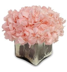 Mercury Hydrangea: Blooms guaranteed to last 6 month. An elegant small mercury glass cube filled with classical hydrangea.. A pretty chic small accent piece.