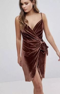 Parisian Velvet Cami Wrap Mini Dress with Tie Dark Rust Brown - Size 14 New Velvet Bodycon Dress, Velvet Cami, Wrap Front Dress, Wrap Dress Floral, Floral Kimono, Floral Dresses, Dressy Dresses, Ladies Dresses, Wrap Dresses