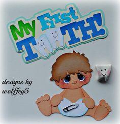ELITE4U BOY  BABY TOOTH  paper piecing premade scrapbook page die cut  WOLFFEY5