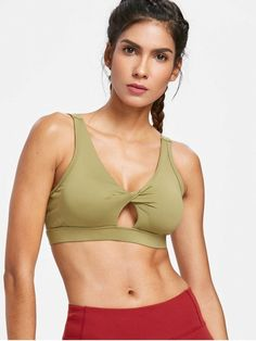 7d90fe981bf10 Shop for Twisted Cutout Mid Impact Sports Bra MOCCASIN  Sports Bras S at  ZAFUL.