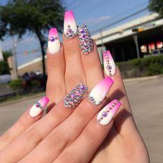 White pink ombré Swarovski crystal nail art