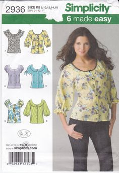 Uncut Simplicity Sewing Pattern 2936 Front Button Top with Round Neckline Misses' Size 8 10 12 14 16