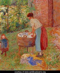 Washerwoman, Eragny - Camille Pissarro - www.camille-pissarro.org