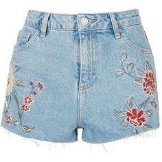 TopShop Moto Embroidered Mom Shorts ($41) ❤ liked on Polyvore featuring shorts, bottoms, clothes - shorts, topshop, high waisted shorts, high-waisted denim shorts, high-waisted jean shorts, high rise denim shorts and high rise jean shorts