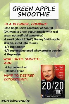 You'll love this smoothie recipe from The 20/20 Diet ... Great for healthy eating on the go!