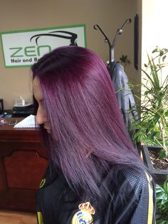 Purple hair done by Debra at zen hair and beauty salon .. Seriously purple is such a beautiful color