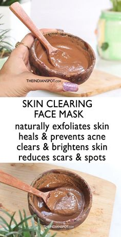 DIY SKIN CLEARING FACE MASK: Clean and clear skin not only looks beautiful but is a sign of good health. We are all born with flawless skin but as we age, we get all kinds of skin problems like acne, blackheads, whiteheads, oilin How To Grow Eyebrows, How To Exfoliate Skin, Beauty Recipe, Belleza Natural, Skin Brightening, Flawless Skin, Clear Skin, Healthy Skin, Healthy Juices