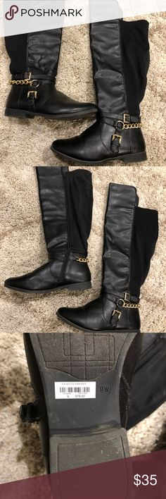 Knee high Wide calf chain boots 9W! A black knee high boots that's wide and comfortable. A lot of space around leg. Cute gold chain designs. Zips from top to bottom. Comes in 9W!   SEND OFFERS Shoes Over the Knee Boots