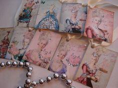 Marie Antoinette glitter gift tags