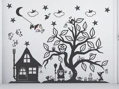 Epic Wandtattoo Zauberbaum Hexen Baum Knorre breit XXL von herz und happiness auf DaWanda