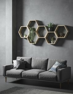 35 Stunning Floating Shelves For Living Room Decor Ideas - Have you ever tried to install a set of shelves only to find that the brackets get in the way? No matter how you change it around, you just can't seem. Decor, Wall Shelf Decor, Geometric Shelves, Honeycomb Shelves, Diy Wall Decor, Living Room Decor, Home Decor, Oak Shelves, Mens Bedroom Decor