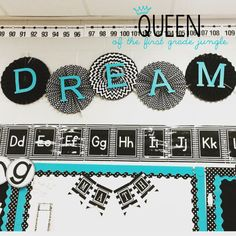 Eye-Catching but Clean Bulletin Boards. I like the letters hot glued to the fa. - Eye-Catching but Clean Bulletin Boards… I like the letters hot glued to the fans. Polka Dot Classroom, High School Classroom, 2nd Grade Classroom, Classroom Setup, Classroom Design, Future Classroom, Classroom Organization, Classroom Walls, Kindergarten Classroom