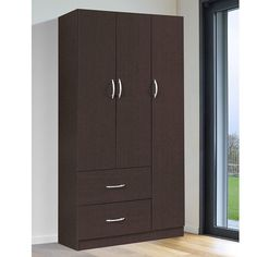 The Home Source Industries Shauna 3 Door Wardrobe is the answer to your organizing needs. The wardrobe features three doors that offer abundant clothing. Bedroom Cupboard Designs, Wardrobe Design Bedroom, Bedroom Cupboards, Top Furniture Stores, Furniture Styles, Furniture Design, Clothing Armoire, Armoire For Sale, White Armoire