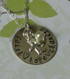 Faith Hope Charity sterling silver necklace by tinylovetreasures, $32.00