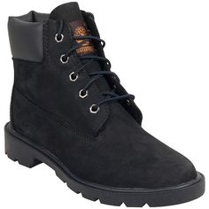 Timberland Women's 6-Inch Classic Boot ($110) ❤ liked on Polyvore featuring shoes, boots, black, water proof shoes, waterproof boots, black lace up shoes, lined boots and timberland shoes