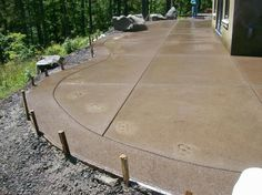 Stained Concrete Patio Border | Decorative Concrete Radius Forming And Sand  Finish With Expose .