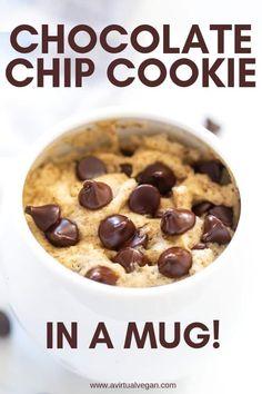 Chocolate Chip Cookies, Chocolate Mug Cakes, Homemade Chocolate, Homemade Snickers, Microwave Chocolate Chip Cookie, Single Chocolate Chip Cookie Recipe, Vegan Chocolate, Chocolate Chips, Mug Cake Microwave