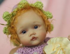 OOAK poseable tiny Polymer clay baby Girl Art doll Hand sculpted by YivArtDolls