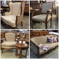 Trilogy's 'Roccoco' solid white cedar timber chairs and lounge with hessian look fabric. French style - new in store!
