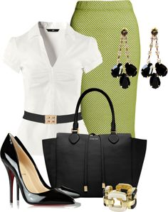 I like the idea of this outfit. I just don't like pencil skirts. So same material in an A-line skirt would be pretty.
