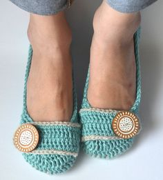 Crochet Slippers House Shoes Ballet Flats - Robin's Egg & Linen - Made to Order on Etsy, $30.00