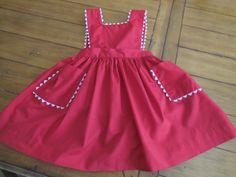 Size 5/6  7/ 8  Vintage Girl Red  Apron Pinafore by LittleMarin