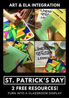 Patrick's Day Activity - Making a Limerick Mobile Teaching Activities, Learning Resources, St Patrick Day Activities, Arts Integration, Teaching Language Arts, Project Based Learning, Classroom Displays, Diy Arts And Crafts, Some Fun