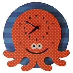 octopus clock - modern moose - kids clock - 1