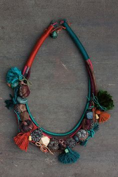 Statement ethnic necklace, Mixed media jewelry in brown teal and orange, Long…