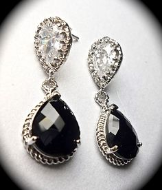 Black and Silver earrings  Sterling Silver  by QueenMeJewelryLLC, $29.99