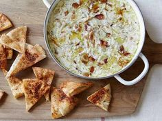 Celebrity Chef Giada's De Laurentiis Best EVER Warm Artichoke and Bacon Dip with recipe for seasoned pita chips too.