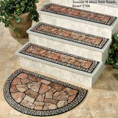 Increase traction and aesthetic appeal for your steps with the Tuscany II Moss Outdoor Stair Treads. Mould Design, Tile Design, Door Design, Tile Stairs, Wood Stairs, House Outside Design, House Front Design, Diy Outdoor Kitchen, Outdoor Decor