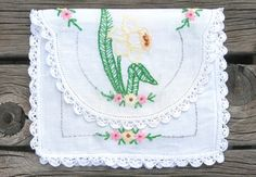 Pouch Bag repurposed Vintage Linens Doilies Hand by WhatGirlsLike