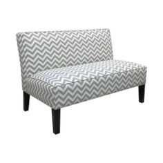 Zigzag Armless Settee, Gray