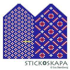 Härom veckan bloggade jag om ett mönster jag gjort som jag kallade Purmoblå blommor. Ursprunget och inspirationen kom från ett stoppat täck... Mittens Pattern, Knit Mittens, Mitten Gloves, Knitting Charts, Hand Knitting, Knitting Patterns, Crochet Skirts, Projects To Try, Embroidery