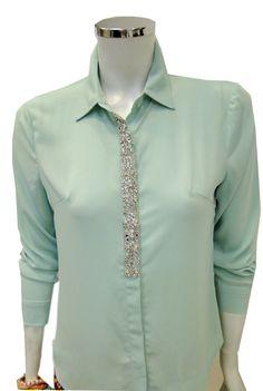Camisa de pedraria cor menta!