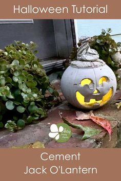 Make a cement pumpkin for this cool outdoor DIY Halloween decoration. A fun concrete/cement tutorial. Add a better operated candle for fall decor ambience. Halloween Jack, Halloween House, Holidays Halloween, Halloween Pumpkins, Halloween Stuff, Halloween Ideas, Concrete Crafts, Concrete Projects, Concrete Cement