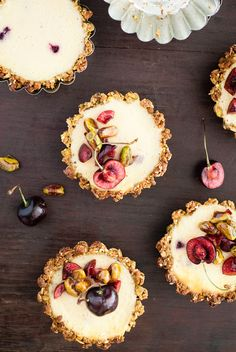 These Pistachio and Cherry Yogurt Cheesecake Tarts make the perfect bite-sized dessert!