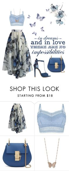 """Blue Butterflies"" by lhsbonez ❤ liked on Polyvore featuring Chicwish, Lipsy, ShoeDazzle and LC Lauren Conrad"