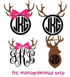 Deer Monogram Decal Sticker #Products