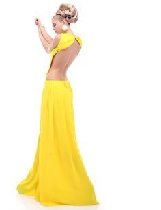 low, sexy openback long dress.  http://shop.mangano.com/en/  #ceremony #luxury #apparel #clothing #woman #yellow #mangano