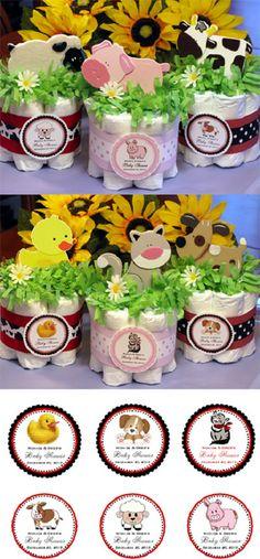 LMK Gifts Baby Shower BARNYARD FARM ANIMAL diaper cake centerpiece