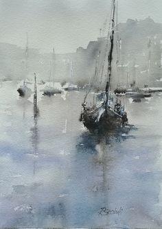 Watercolor Portrait Painting, Watercolor Water, Easy Watercolor, Watercolor Drawing, Watercolor Landscape, Abstract Watercolor, Boat Painting, Painting People, Ocean Artwork