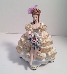 FREE SHIPPING USA & Canada - Rare Antique Roceram Romania Porcelain Figurine Lady with Flowers Lace Dress - Like Dresden Figurine